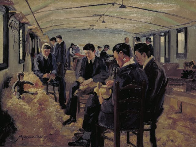 Four men, some with bandaged facial injuries, sitting on chairs in a makeshift hospital room.