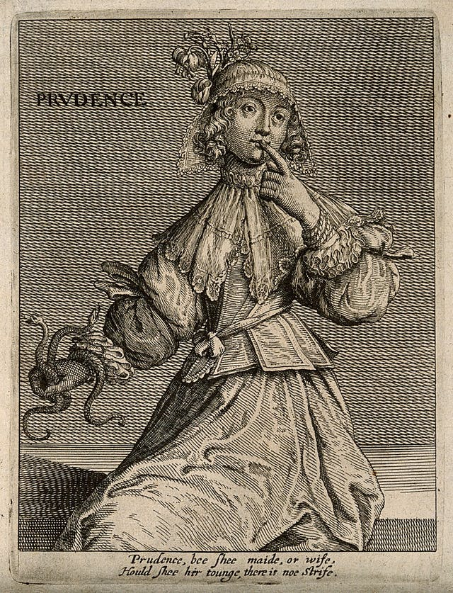 Black and white illustration of a woman holding snakes in one hand and holding the other hand to her lips.