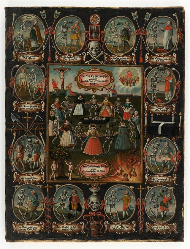 A portrait 18th century German painting of dancing skeletons