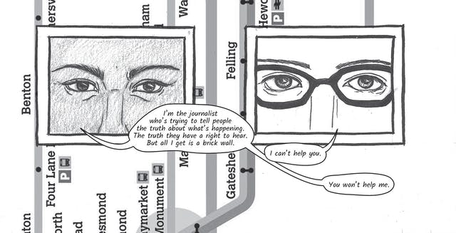 The greyscale graphic novel continues. The third image contains the same background, running vertically, of a bus map of Sunderland showing the River Wear and various stops along the route such as, Benton and Felling. On top of the map are two line drawings, framed within two black square boxes. The box on the left shows a close up of Zoe