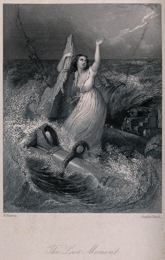 A shipwrecked lady holds on to the remains of a ship-mast waving for help in the stormy sea. Engraving by C Heath after H Warren.