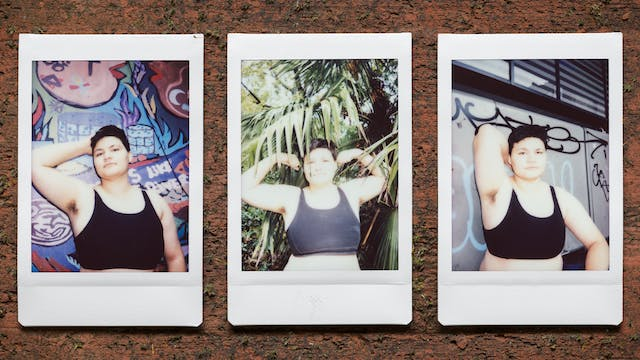 Photograph of three Instax Mini instant film prints in a line, resting on a textured brick surface. All three prints show the same man. The print on the right shows the man wearing a black cropped vest standing against a graffitied wall with his right arm raised up behind his head to show his armpit hair. The print in the centre shows him nestled within the leaves and branches of a tree. He is raising both arms to the side, elbows bent, revealing his armpit hair. The print on the left shows him again standing against a colourful graffitied wall with his right arm raised up behind his head to show his armpit hair.