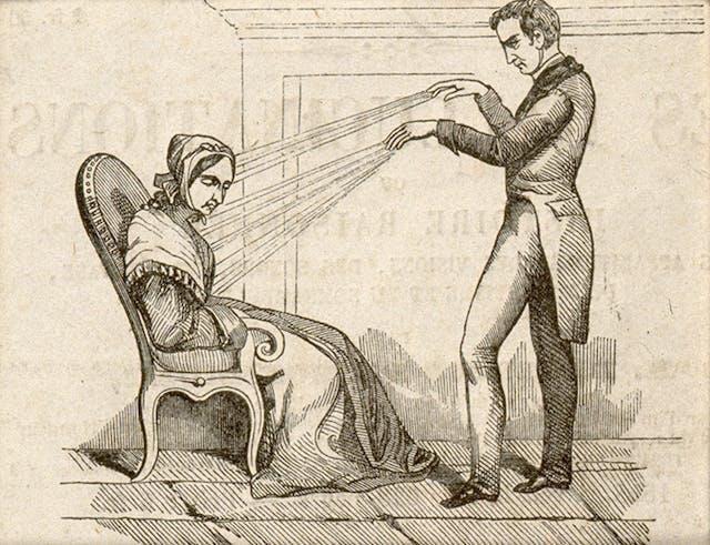 V0011094 A practictioner of Mesmerism using Animal Magnetism