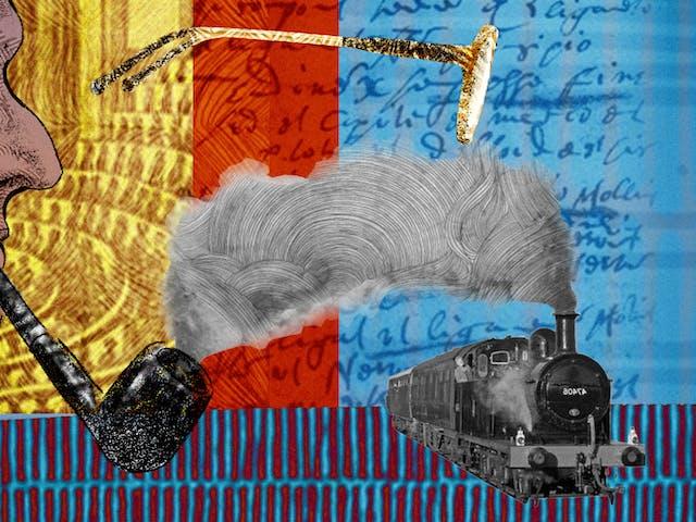 这是一幅抽象的数字插图,描绘的是一个面朝右边、叼着烟斗的男人的头和肩膀肖像,描绘的是作家雅克·德里达(Jacques Derrida)。背景是手写笔记和档案材料的拼贴画,描绘了一个讲堂和x光。右边是一副漂浮的眼镜和一列蒸汽火车。