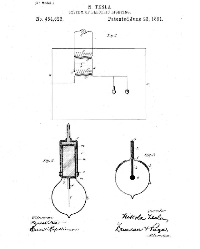 Black and white drawing of an electrical circuit with a light bulb, labelled N. Tesla System of Electric Lighting and signed by Tesla under the word inventor.