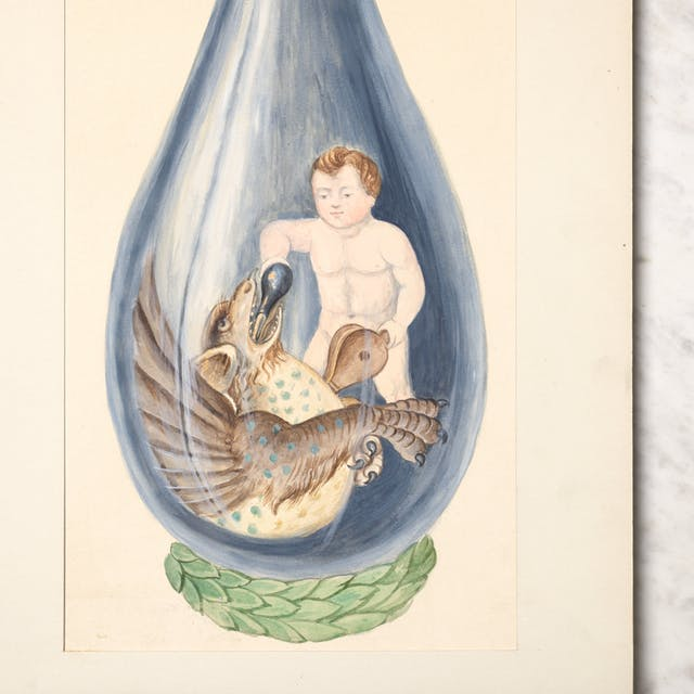 Photograph of a watercolour painting of a putto pouring a phial into a dragon