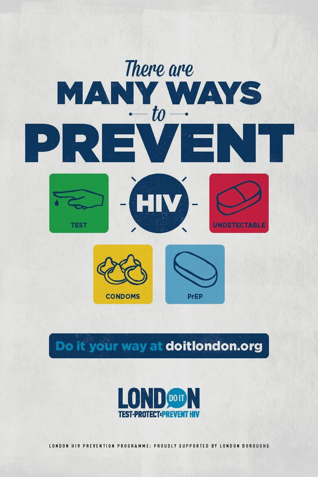 "Do It London campaign poster, stating ""There are many ways to prevent HIV"" with four suggestions in colourful boxes: test, condoms, undetectable, PrEP."