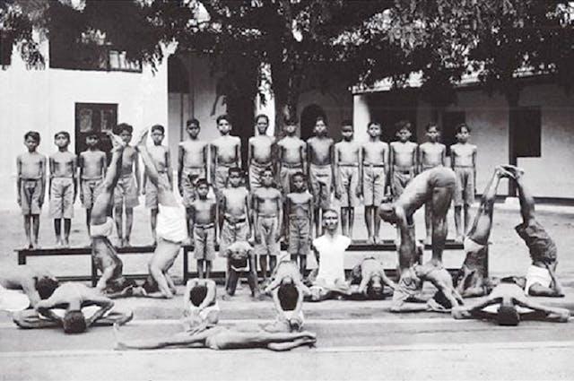 Yogasala at Mysore Palace with Krishnamacharya