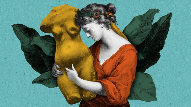 Mixed media collage of a woman holding the torso of a female statue as she sheds a tear.  In the background behind the woman is a bed of leaves.  The image has been created from colourised black and white assets using orange yellow and green tones, and sits on a teal background.
