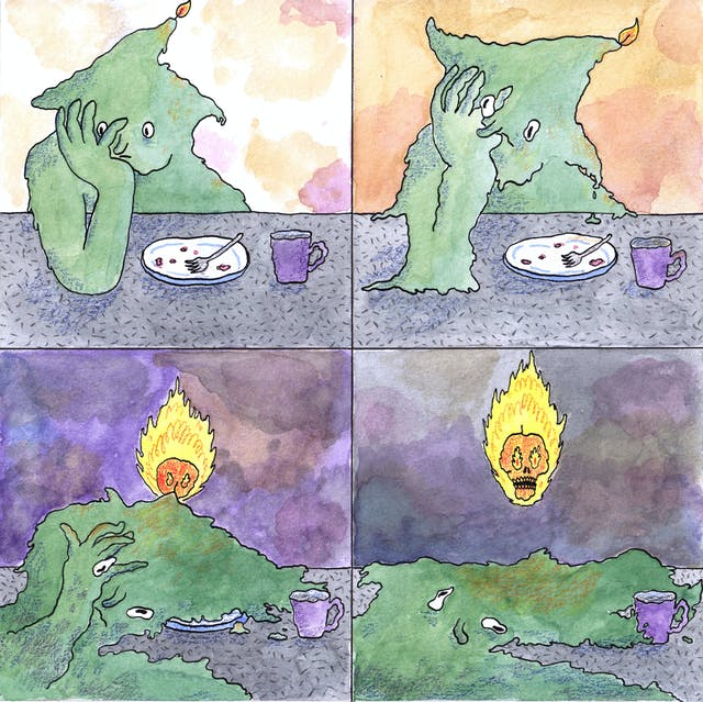 Four-panel comic depicting a sad candle leaning on its hand with an empty plate and mug in front of it. As the panels progress, the candle-person melts leaving only a puddle and a flaming skull.