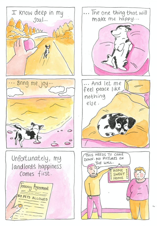 """Panel 1: A hand throwing a ball into the distance as a small dog runs along the path playing fetch. Caption reads: """"I know deep in my soul...""""  Panel 2: The same dog lays on a big pillow showing its belly and smiling as if content. The caption continues: ...""""The one thing that will make me happy...""""  Panel 3: The same dog is on a beach, playing in the sea as the tide comes in. The caption continues: """"...Bring me joy...""""  Panel 4: The dog is curled up asleep on a bed. The caption continues: """"...and let me feel peace like nothing else.""""  Panel 5: A close-up of a tenancy agreement with the words highlighted"""