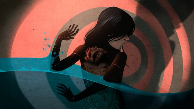 Illustration of a lone female figure stood in front of a background of concentric circles. She is holding up her arms against a swell of water approaching her from the lefthand side. The water surrounds her and washes away to the right. On the front of her torso are illustrations of internal organs, the stomach and heart. To her right her body is casting a large shadow against the background. The hues of the illustration are muted reds and blues.