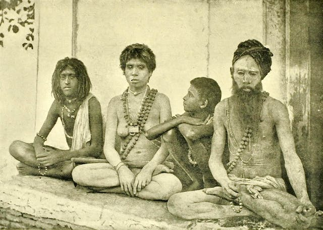 A group of male and female ascetics (sanyasis) in India