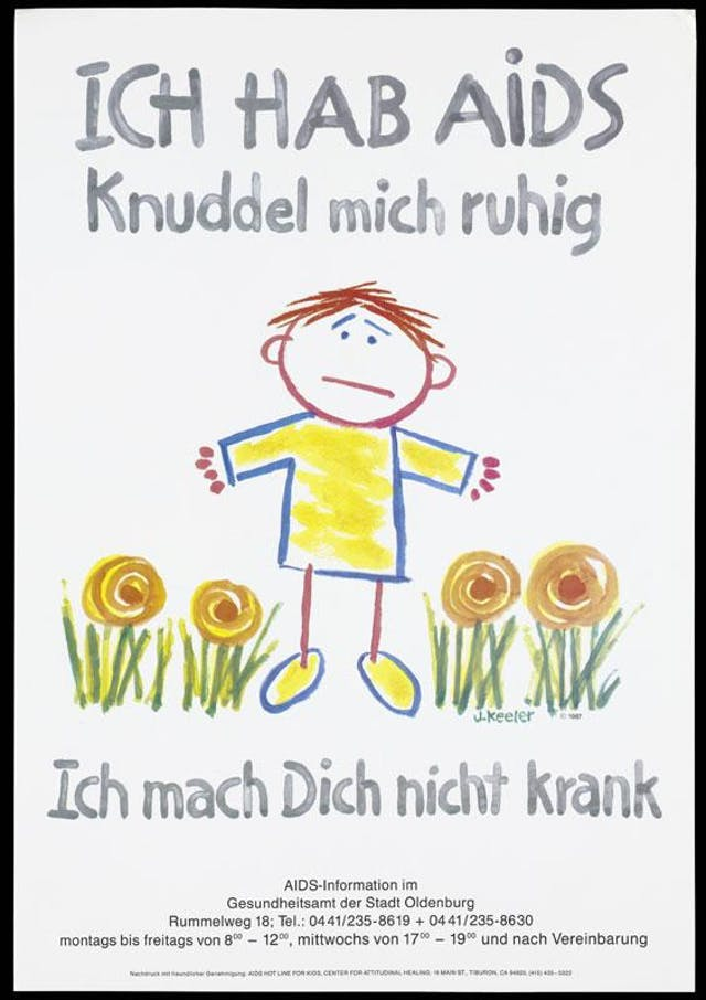 A forlorn looking figure amongst flowers representing a child with AIDS. Translated from German, the poster reads: I have AIDS. Please hug me. I can