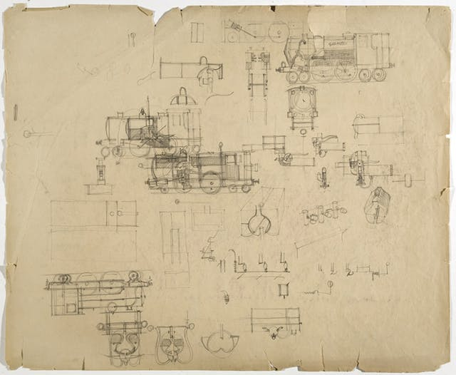 Sketches of engines and locomotives on paper by Ron Hampshire