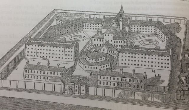 A black-and-white drawing of a birds eye view of Brixton female convict prison