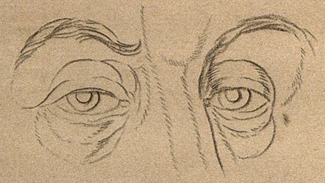 Pencil drawing of a pair of eyes.