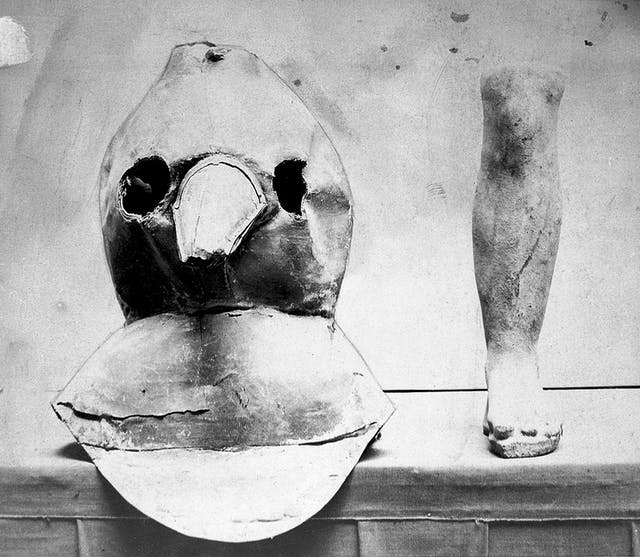 Photograph of plague mask made from oil-cloth with bronze beak