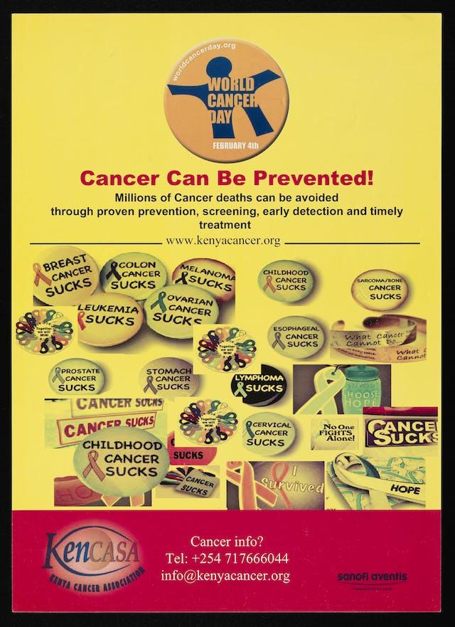 癌症预防广告,用无数的徽章,印有不同类型的癌症和信息