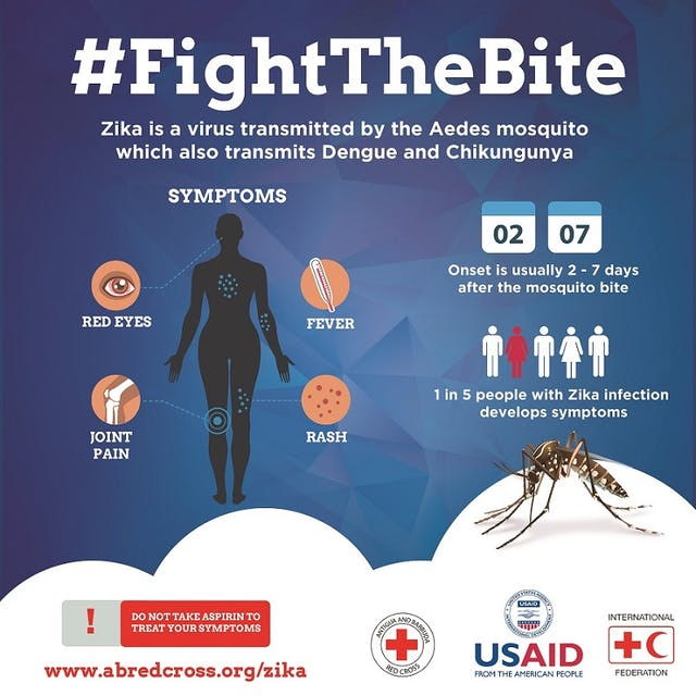 Colour poster of showing general information on Zika.