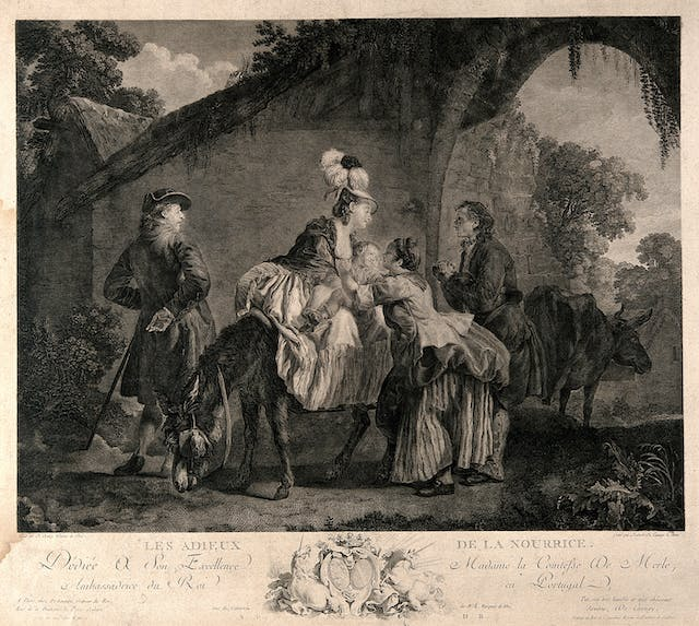 Black and white etching showing a baby being given by a woman dressed in poorer clothes to one on a horse wearing expensive clothes and a feathered hat.