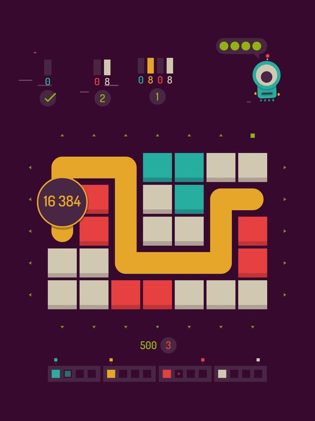 An image of smartphone  puzzle game, with brightly-coloured blocks and a yellow path between them. A one-eyed alien creature watches over from the top right of the screen.