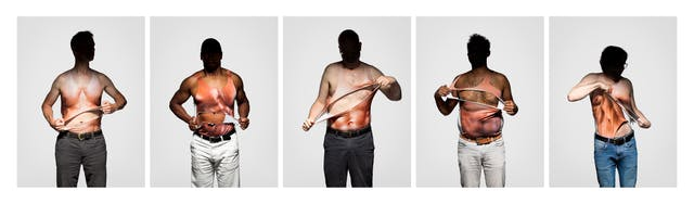 Photograph of five photographs in a horizontal line, each one shows a man from the thigh up wearing a vest which has a very muscly male torso printed on it. Each man is ripping the vest open to reveal his own torso beneath. Each man