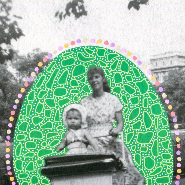 Artwork created by painting over the surface of a black and white photographic print with colourful paint. The artwork shows the original scene of a young woman walking through a parkland scene pushing a pram. Sitting up inside the pram is a young toddler facing forwards. Behind them is a black hooped fence separating the path from the planted grass area. In the background are trees and the top of a large stone building. The woman, toddler and pram are surrounded by a large oval shape painted green, which is covered in small lighter green dots and many organic shaped circular light green outlines. Around the edge of the oval shape are a line of coloured painted spots, of yellow, pink and purple.