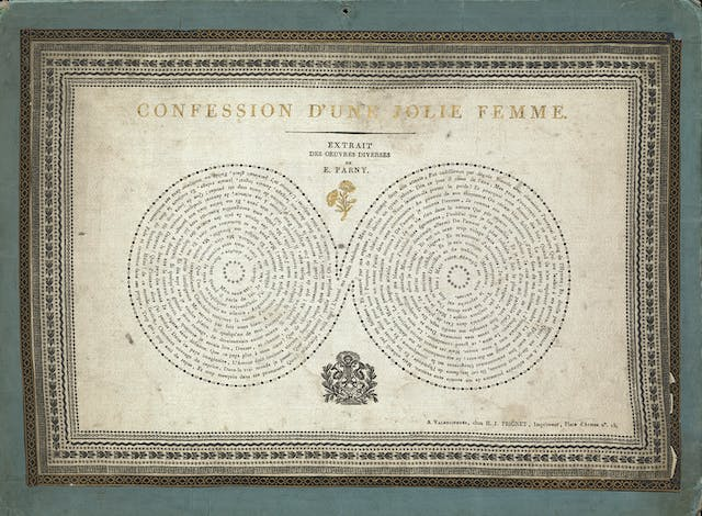 A silk handkerchief printed in black and gold  with words in the form of breasts.