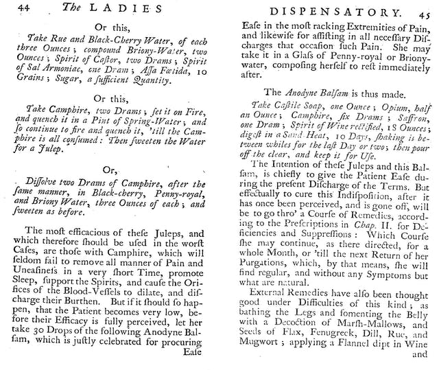 Two pages from an 18th Century book with recipes in italics.