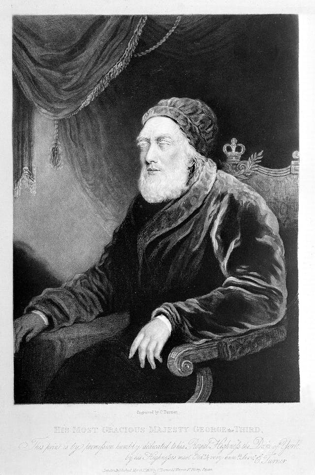 Black and white engraving of an old man with cataracts glazing his eyes and white beard.