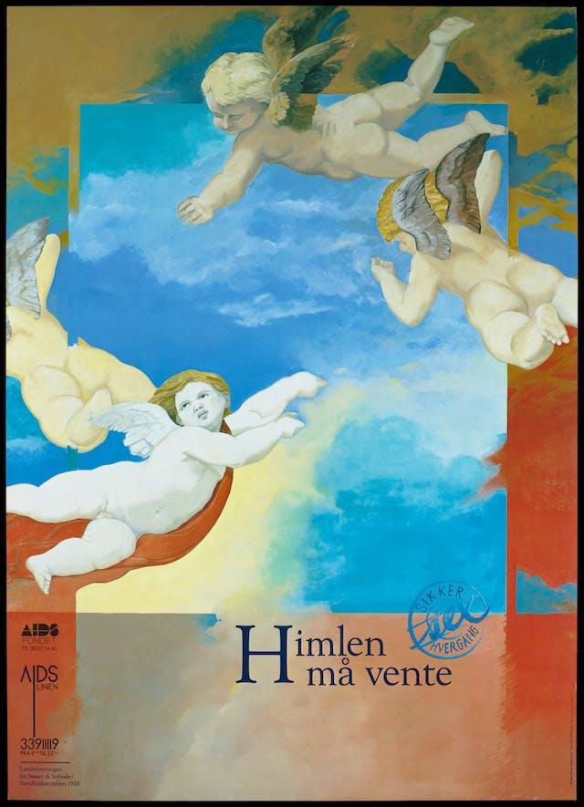 "Illustration showing four winged figures floating against a blue sky above lettering saying ""Himlen må vente"" (translates as ""Heaven must wait"")."