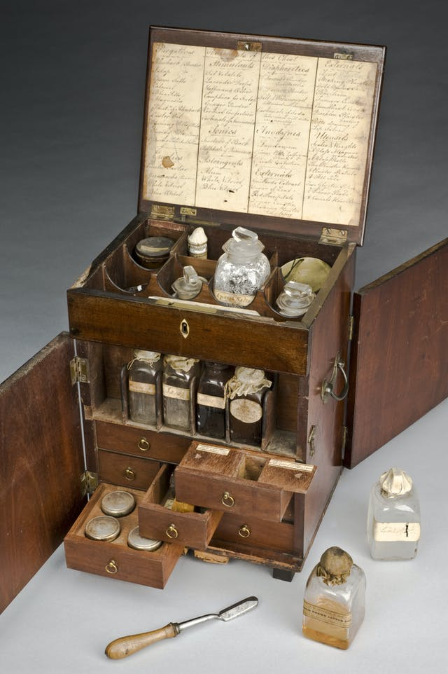 19th century mahogany medicine chest including bottles. One of these is labelled ginger.