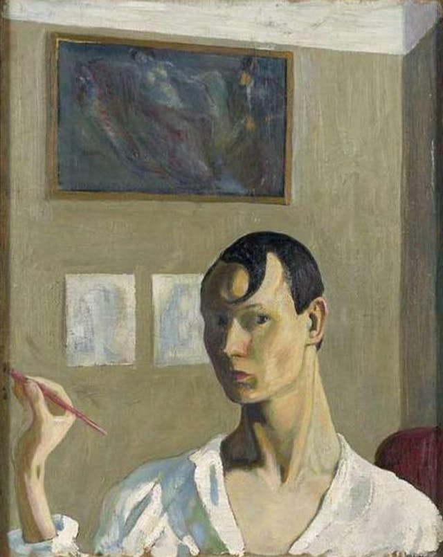 Painted self-portrait from the 1920s of artist Peet Aren in a white shirt.