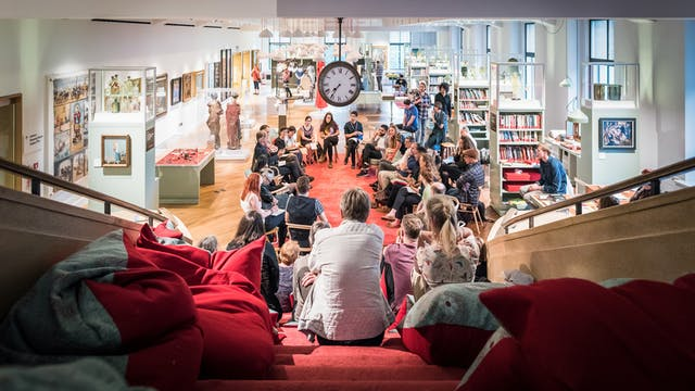 Photograph of an audience sat in a circle at a discussion event in the Reading Room at Wellcome Collection.
