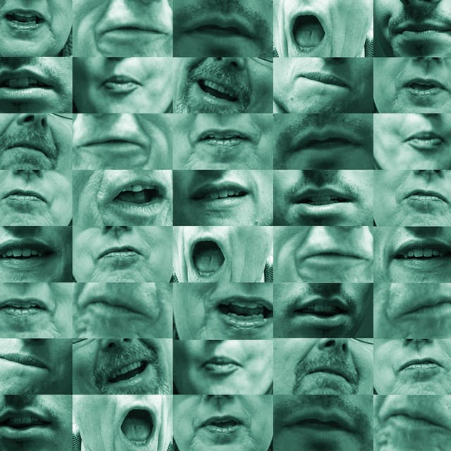 Photographic mosaic made up of a grid of images, numbering 8 across and 8 down. Each image is of a closeup of different mouth, in the process of speaking, frozen in a variety of shapes different shapes. Some mouths appear more than once across the grid.The images are monotone with a light green tint over all of them.
