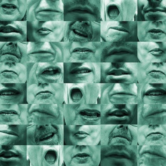 由图像网格组成的摄影马赛克,横8号,横8号。每一幅图像都是对不同嘴巴的特写,在说话的过程中,冻结在各种形状不同的形状。有些嘴在网格上出现了不止一次。The images are monotone with a light green tint over all of them.