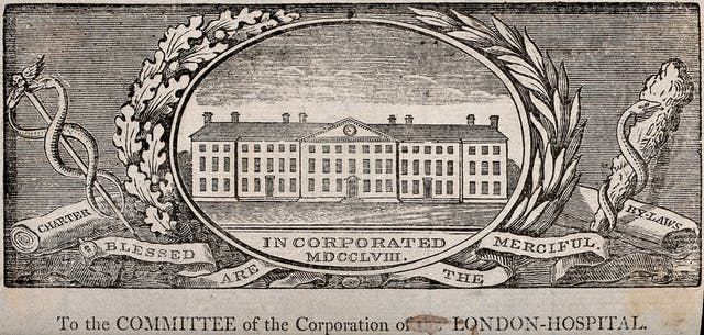 A printed label showing the London Hospital, Whitechapel