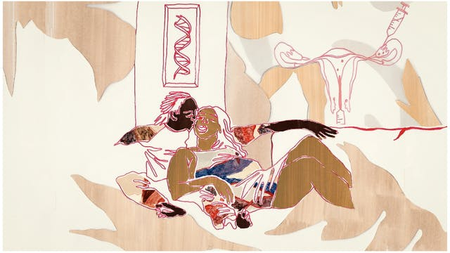 Digital artwork made up of collage elements, line drawing and textured patterns.The artwork depicts 2 women reclined in each others arms as if on a sofa. The woman behind is kissing the other woman on the cheek. Each woman has a different skin tone. Behind the reclining couple as if on the walls of the living room is a framed picture of the DNA helix and a diagram of the female reproductive organ with syringes as if in a fertility procedure. The tones of the artwork are creams, rusts, browns and reds.