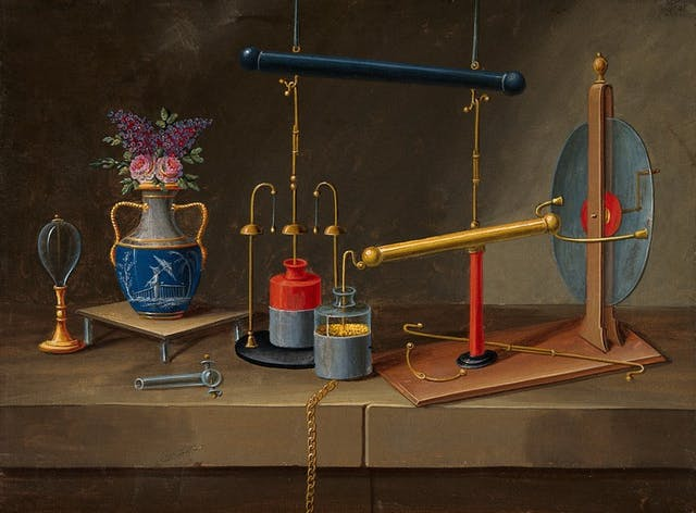 Colourful still life painting of electrical implements and a vase of flowers.