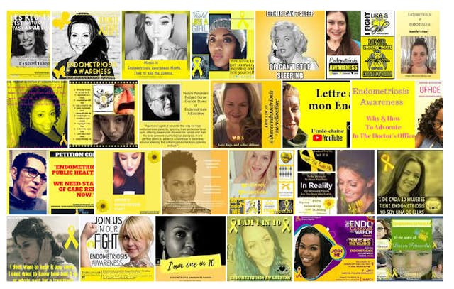 Series of images labelled endometriosis awareness with yellow labels and in some cases featuring faces of people.