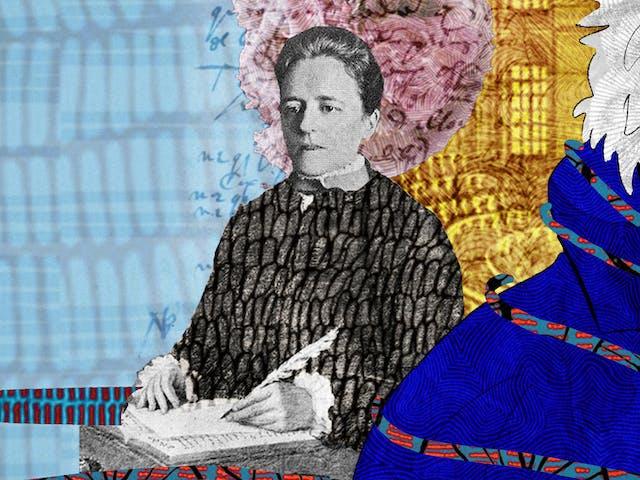 这是一幅抽象的数字插图,描绘的是一个面朝右边、叼着烟斗的男人的头和肩膀肖像,描绘的是作家雅克·德里达(Jacques Derrida)。在左边,我们看到一位女性正在用羽毛笔书写,描绘的是日记作者爱丽丝·詹姆斯。背景是手写笔记和档案材料的拼贴画,描绘了一个讲堂和x光。