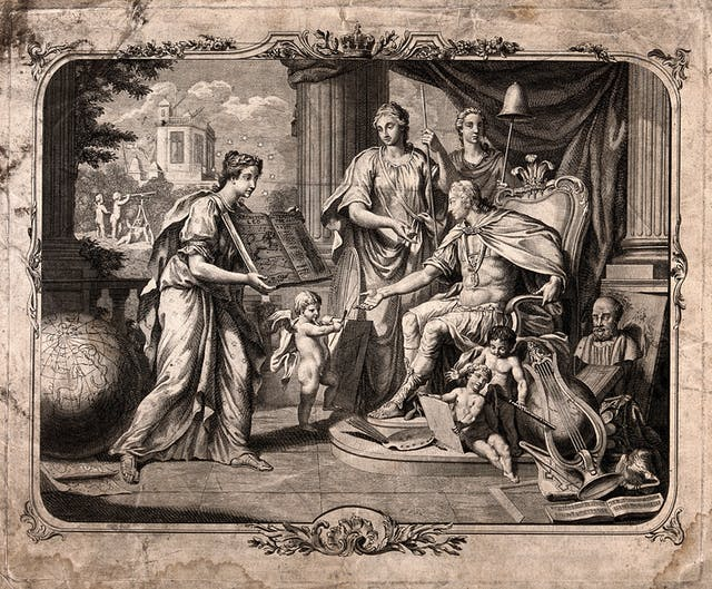 Black and white engraving showing a woman with a large book, showing it to a seated man.