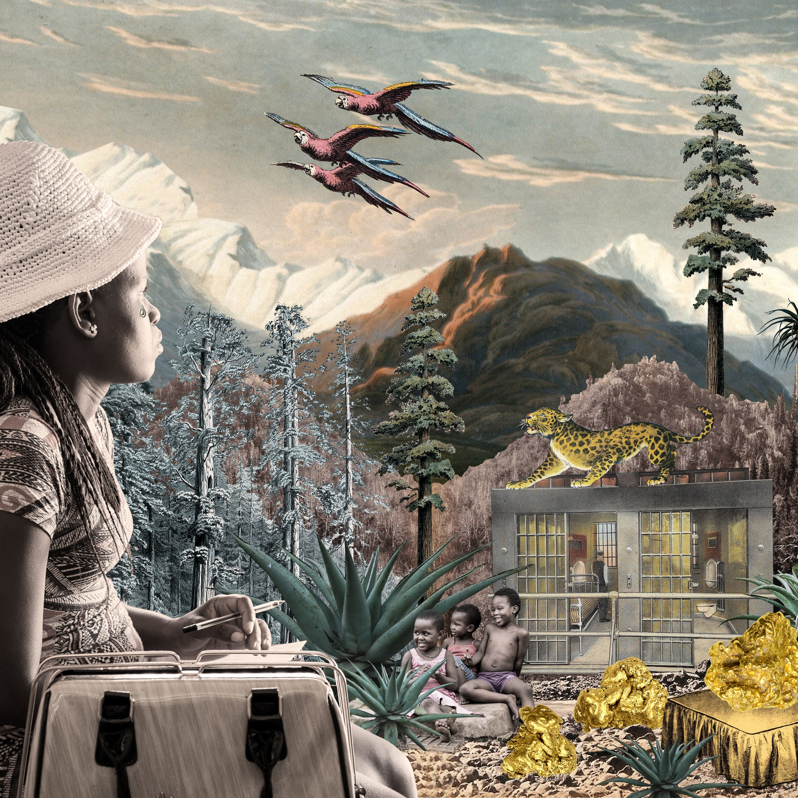 Artwork using collage. The collaged elements are made up of archive material which includes vintage and contemporary photographs, etchings, painted illustrations, lithographic prints and line drawings. This artwork depicts a scene with an urban and rural combined background, where high mountains and hills rise in the distance. In the middle distance are a series of tall trees and a jail like structure with bars. On top of the jail stands a large leopard looking up to the sky. In front of the jail are several large agave plants. Seated amongst them are three young children, smiling. To the right of the children is a large gold covered bed with a large gold nugget on top. At the foot of the bed are 2 more golden nuggets. Siting on the headboard is a colourful parrot in red, blue and orange. To the right of the parrot is a modern glass building with a long pathway leading up to the entrance. In the foreground on the left side of the image is a woman wearing a pattered dress and knitted to crocheted hat. Beside her is a large handbag. In her hand she is holding a biro and a piece of paper. She is looking away into the distant hills with a tear rolling down her right cheek. In the cloud scattered sky above are 3 parrots in flight and a large moon like orb. A blue bird sits in a high tree on the right, a pink heart shape in its mouth.