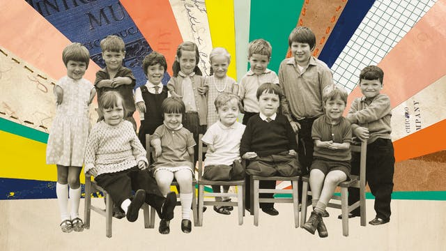 Mix media artwork made up of archive photographs and cut out textured elements elements. The image shows a black and white sepia toned photograph of a group of 13 young children, sitting and standing for a posed group photo. The children were all affected by the thalidomide scandal and so some have short arms, some have short legs, and some have both. The group is smiling to the camera. Behind the group, the background is made up radiating shards of school related book covers and paper. The effect is to create a rising sun pattern appearing from behind them. The shards are varied in colour, blues, pinks, yellows, orange and greens. Some are textured book covers with fragments of text, others are textured paper with stitching, others are gridded graph paper.