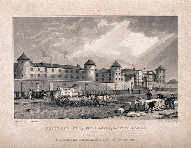 Sepia engraving depicting a large building on a street with horse drawn carriage