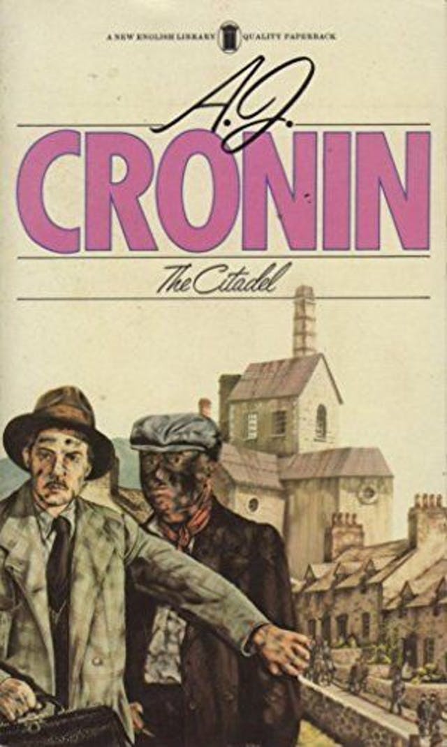 Cover of the New Kingdom Library edition of The Citadel. Depicts the title and then below an illustration of a doctor with dirt-smeared face in front of a miner who is covered in coal dust. A set of miner