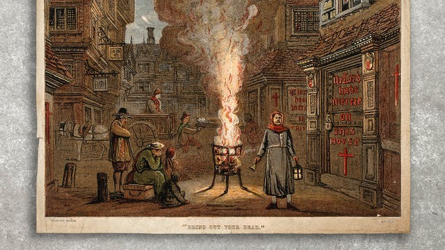 Photograph of a colour engraving against a concrete background. The engraving shows a street during the Great Plague in London, 1665, with a death cart and mourners.