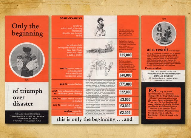 Photograph of a colourful campaign leaflet from the 1960s, resting on a brown paper textured background. The leaflet is shown in three parts, the front, the inside and the back. When folded it is a tall thin leaflet. The cover not he left is split into 3 horizontal bands, orange at the top, white in the lower half and black at the bottom. In the centre of the leaflet is a black and white photograph, set within a white ringed circle, of a woman wearing a hat and holding a small child in each arm. Above the photograph are the words