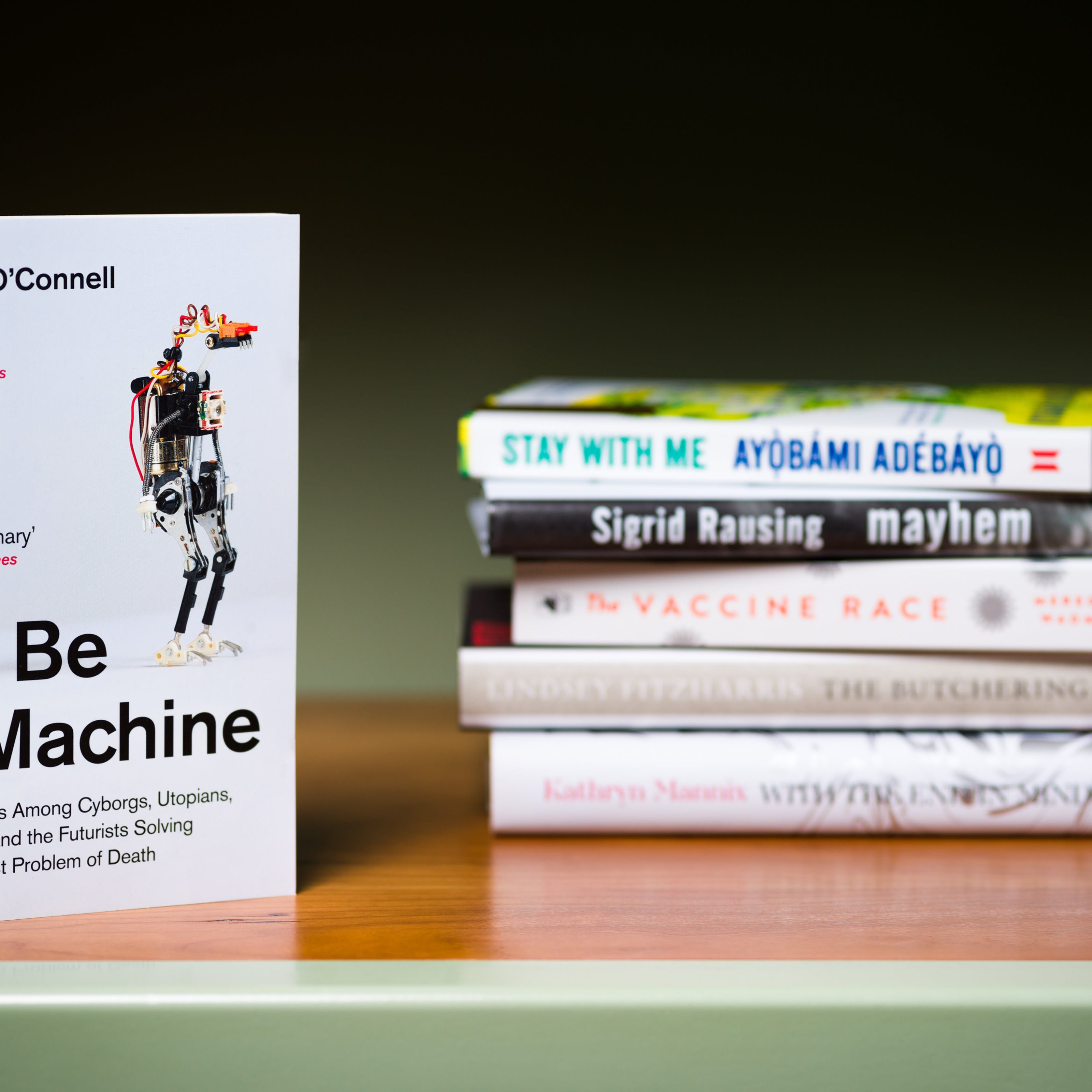 Photograph of a a stack of 5 books lying horizontally on a shelf with another book standing  vertically in the foreground.